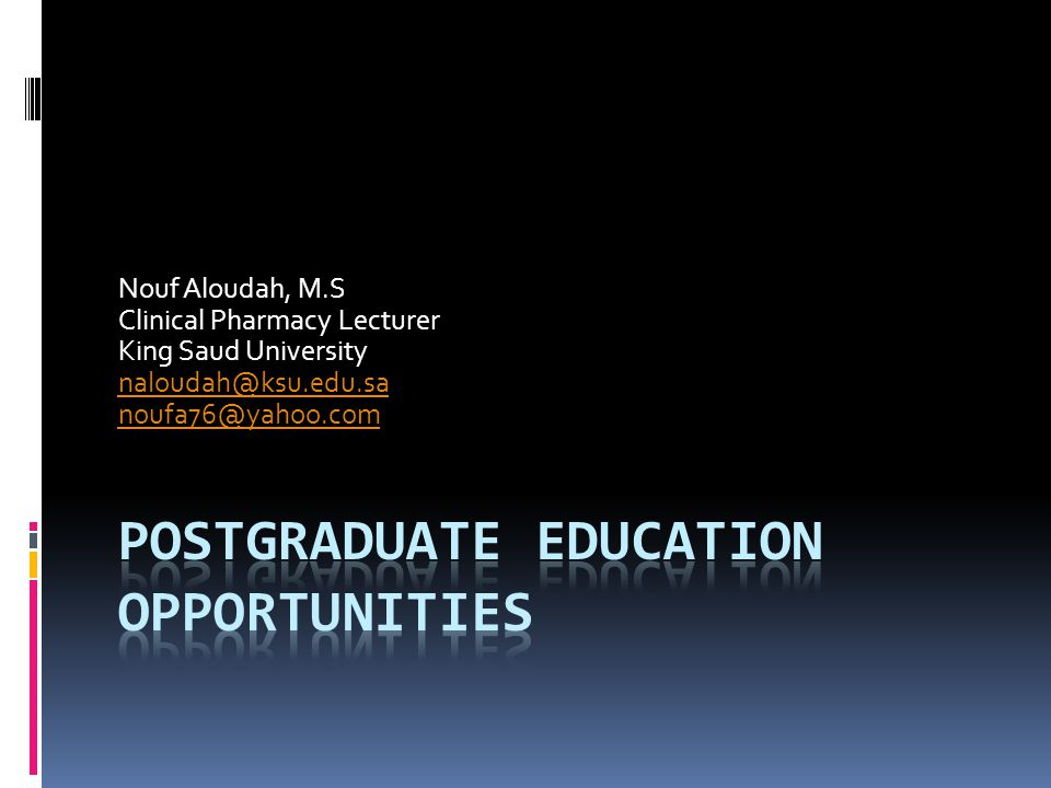Nouf Aloudah, M.S Clinical Pharmacy Lecturer King Saud University naloudah@ksu.edu.sa noufa76@yahoo.com