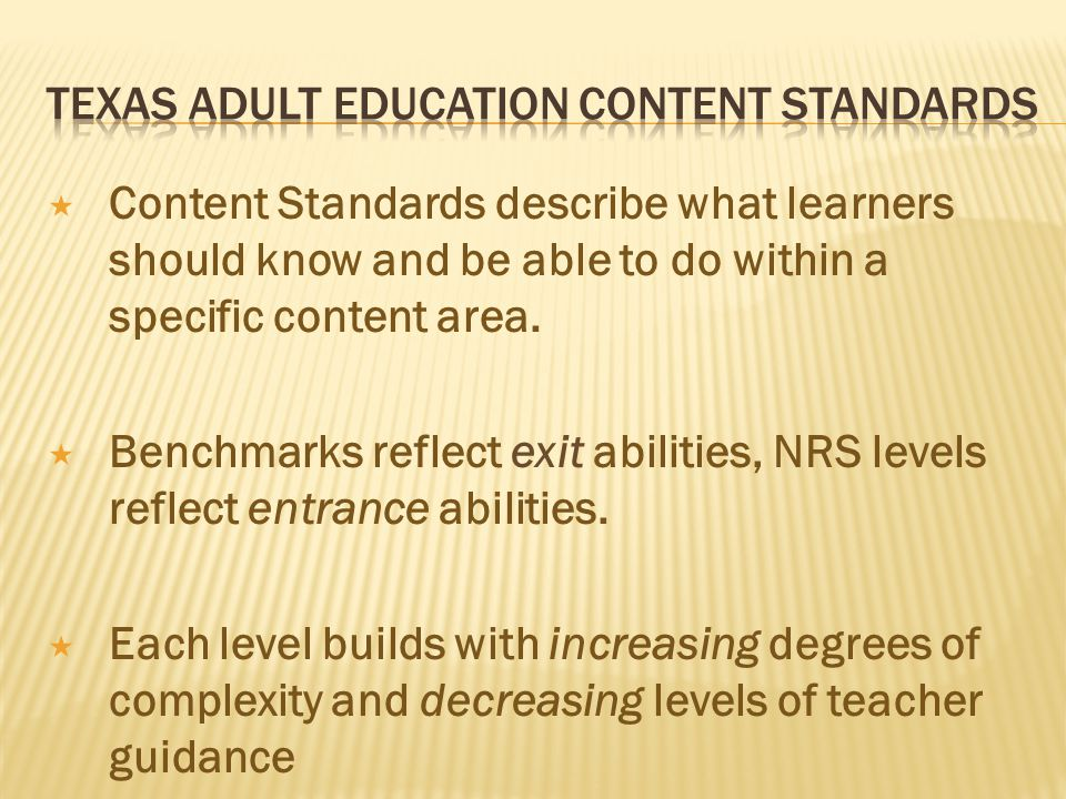 Content Standards describe what learners should know and be able to do within a specific content area.