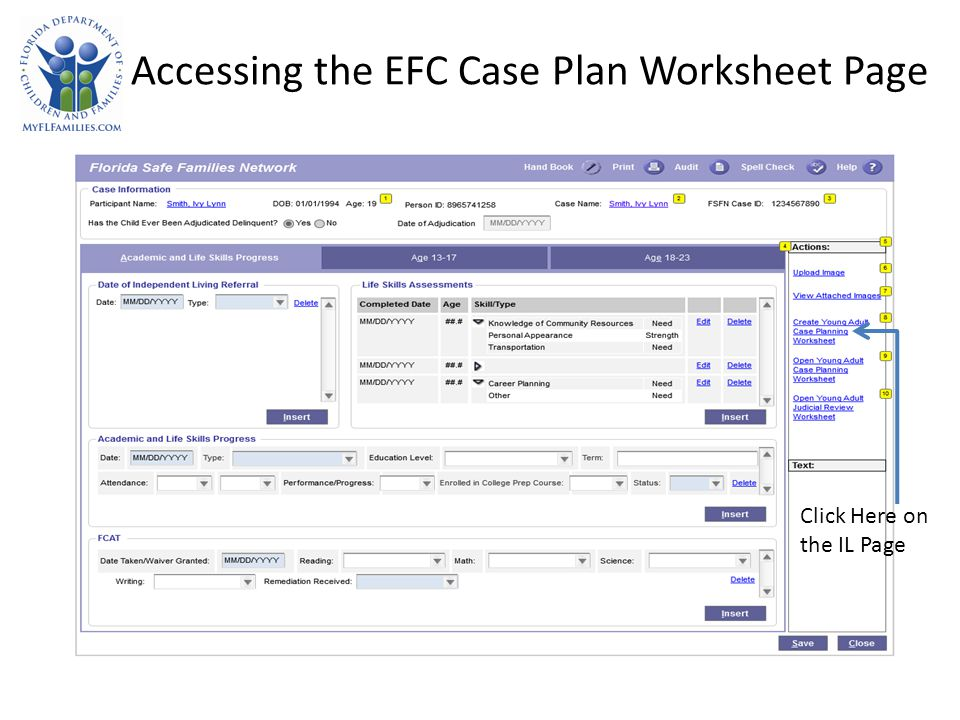 Accessing the EFC Case Plan Worksheet Page Click Here on the IL Page