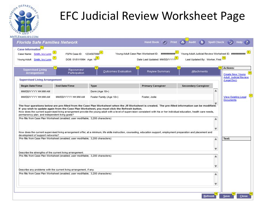 EFC Judicial Review Worksheet Page
