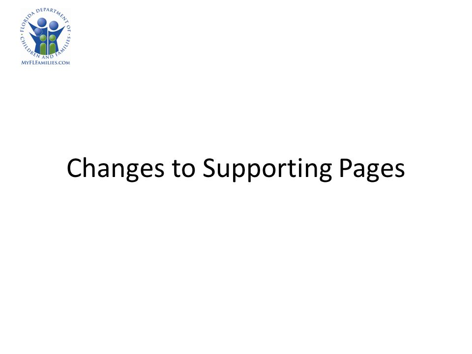 Changes to Supporting Pages