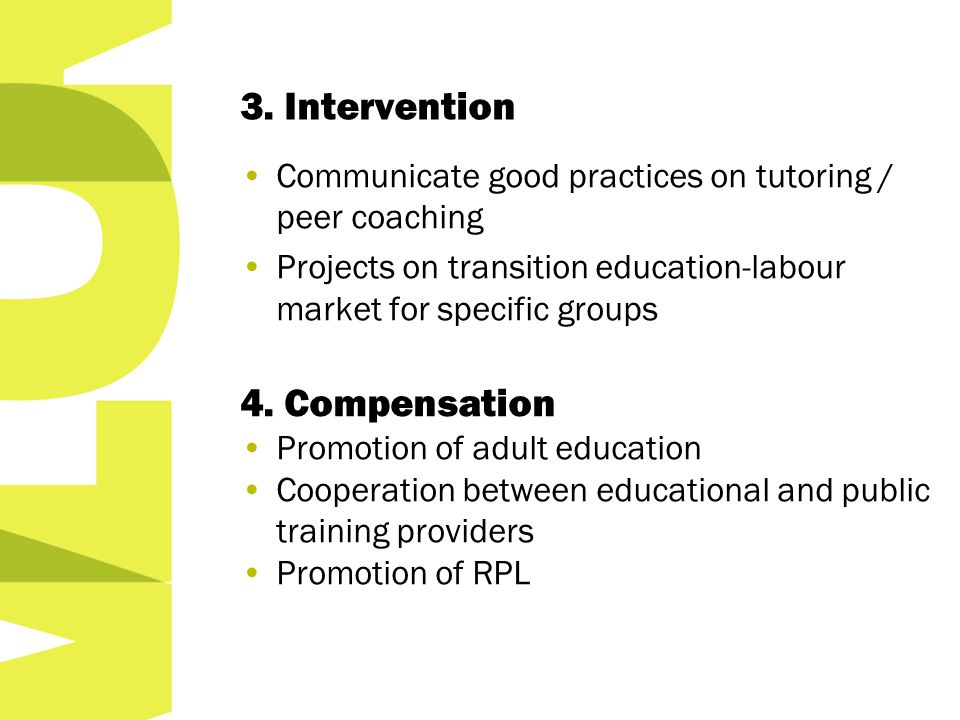 3. Intervention Communicate good practices on tutoring / peer coaching Projects on transition education-labour market for specific groups 4. Compensat