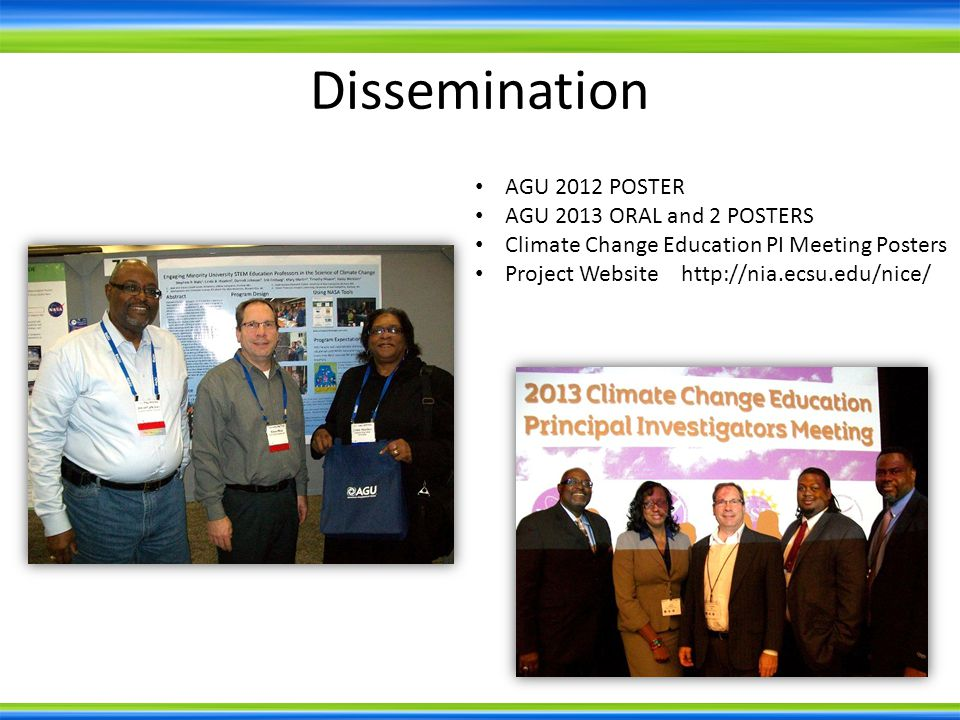 Dissemination AGU 2012 POSTER AGU 2013 ORAL and 2 POSTERS Climate Change Education PI Meeting Posters Project Website http://nia.ecsu.edu/nice/