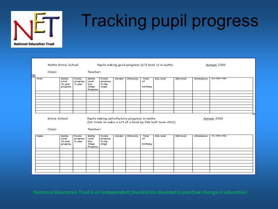 National Education Trust is an independent foundation devoted to positive change in education Tracking pupil progress