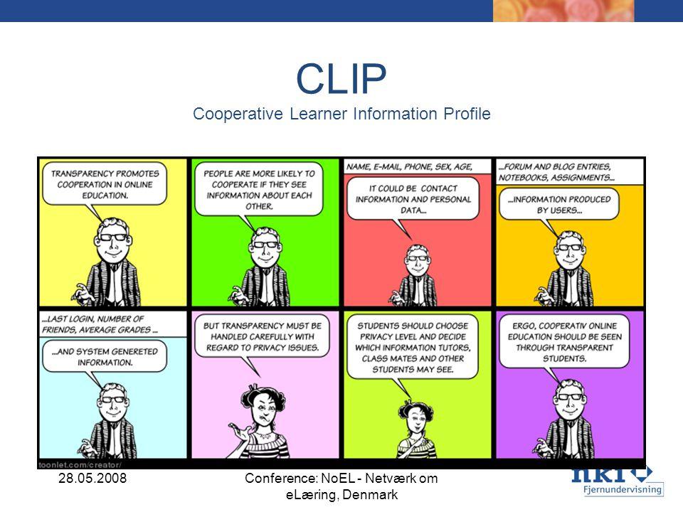 CLIP Cooperative Learner Information Profile Cooperative Learning Information Profile 28.05.2008Conference: NoEL - Netværk om eLæring, Denmark