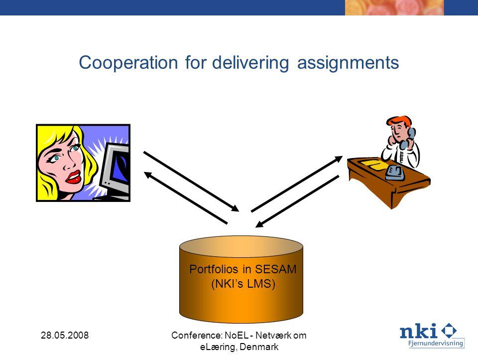 Cooperation for delivering assignments Portfolios in SESAM (NKIs LMS) 28.05.2008Conference: NoEL - Netværk om eLæring, Denmark