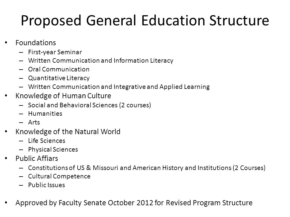 Proposed General Education Structure Foundations – First-year Seminar – Written Communication and Information Literacy – Oral Communication – Quantitative Literacy – Written Communication and Integrative and Applied Learning Knowledge of Human Culture – Social and Behavioral Sciences (2 courses) – Humanities – Arts Knowledge of the Natural World – Life Sciences – Physical Sciences Public Affiars – Constitutions of US & Missouri and American History and Institutions (2 Courses) – Cultural Competence – Public Issues Approved by Faculty Senate October 2012 for Revised Program Structure