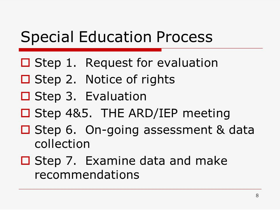 Step 7 Examine data and make recommendations This step should begin at least 4 to 6 weeks before the next scheduled annual ARD/IEP meeting.