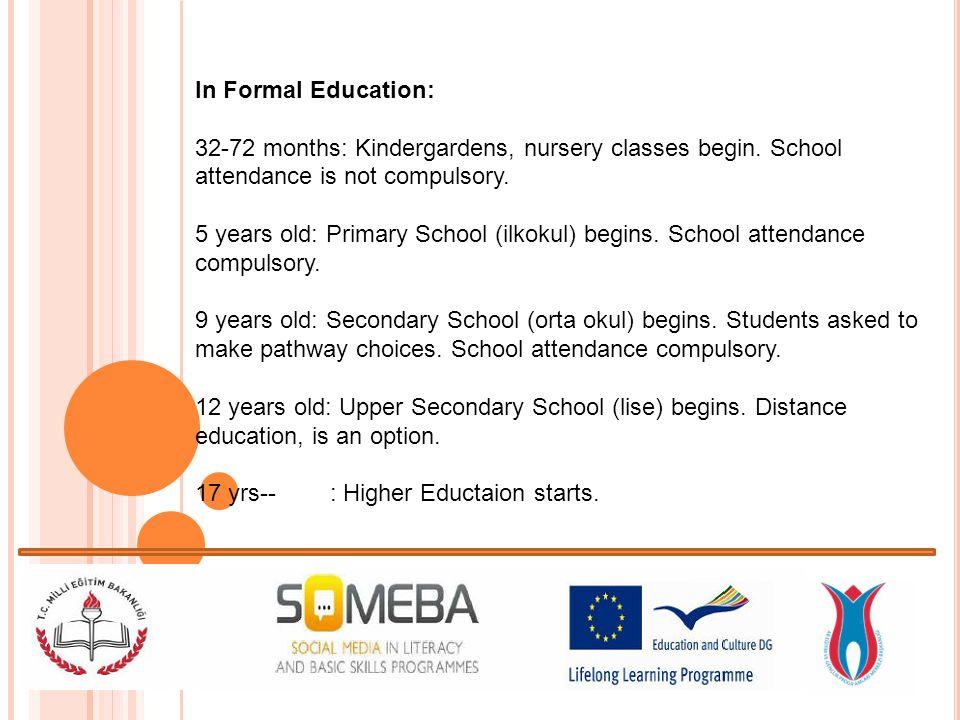 In Formal Education: 32-72 months: Kindergardens, nursery classes begin.