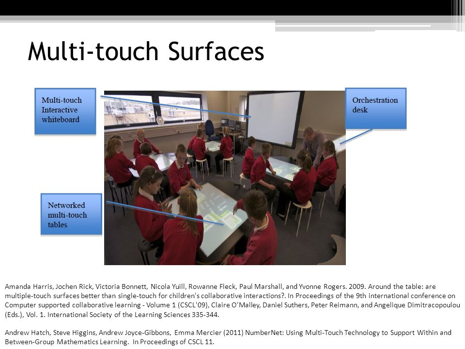 Multi-touch Surfaces Andrew Hatch, Steve Higgins, Andrew Joyce-Gibbons, Emma Mercier (2011) NumberNet: Using Multi-Touch Technology to Support Within and Between-Group Mathematics Learning.