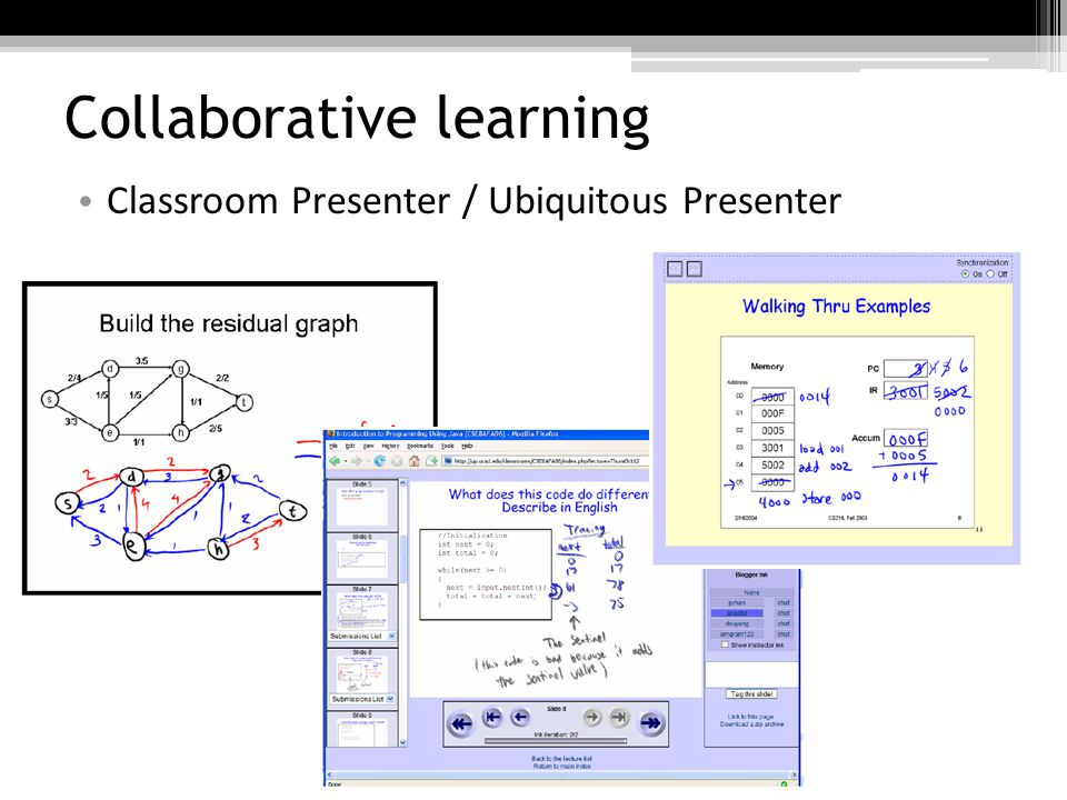 Collaborative learning Classroom Presenter / Ubiquitous Presenter