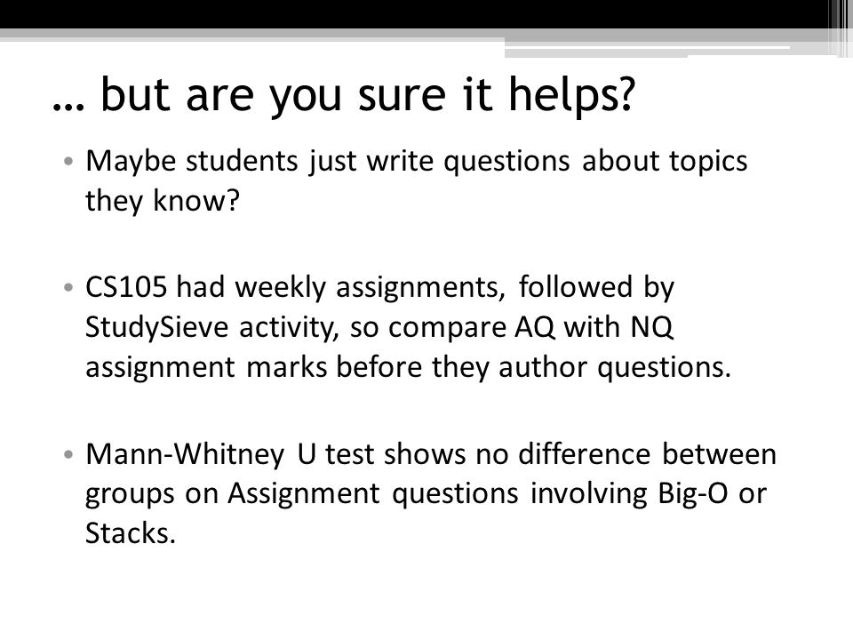 … but are you sure it helps. Maybe students just write questions about topics they know.