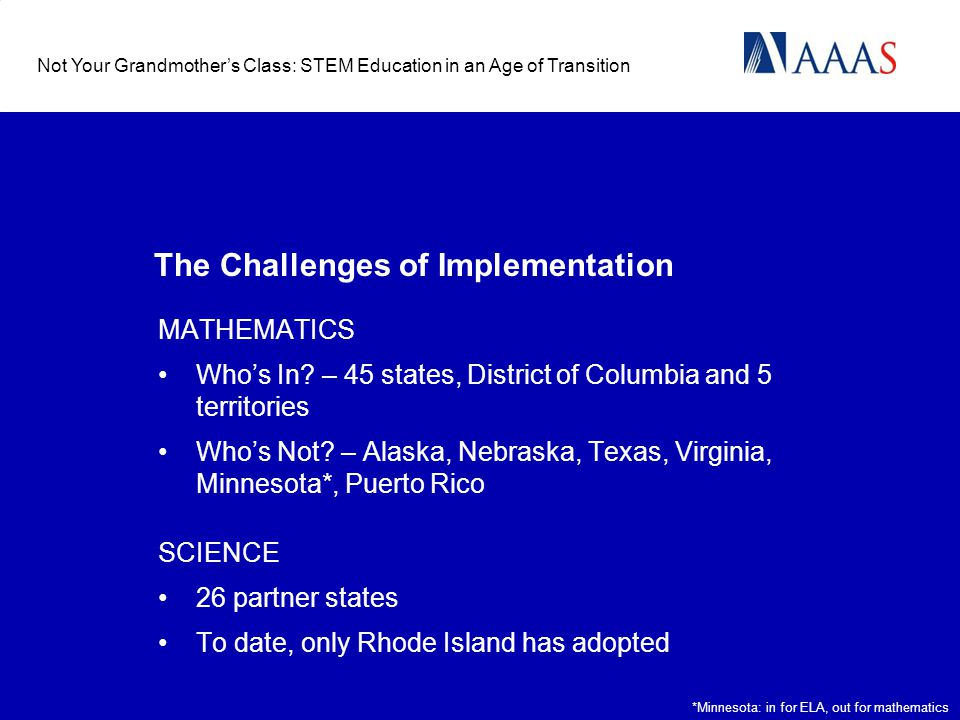 The Challenges of Implementation MATHEMATICS Whos In.