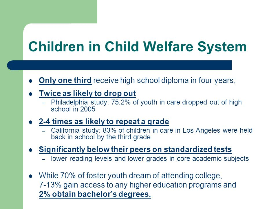 Children in Child Welfare System Only one third receive high school diploma in four years; Twice as likely to drop out – Philadelphia study: 75.2% of youth in care dropped out of high school in 2005 2-4 times as likely to repeat a grade – California study: 83% of children in care in Los Angeles were held back in school by the third grade Significantly below their peers on standardized tests – lower reading levels and lower grades in core academic subjects While 70% of foster youth dream of attending college, 7-13% gain access to any higher education programs and 2% obtain bachelors degrees.