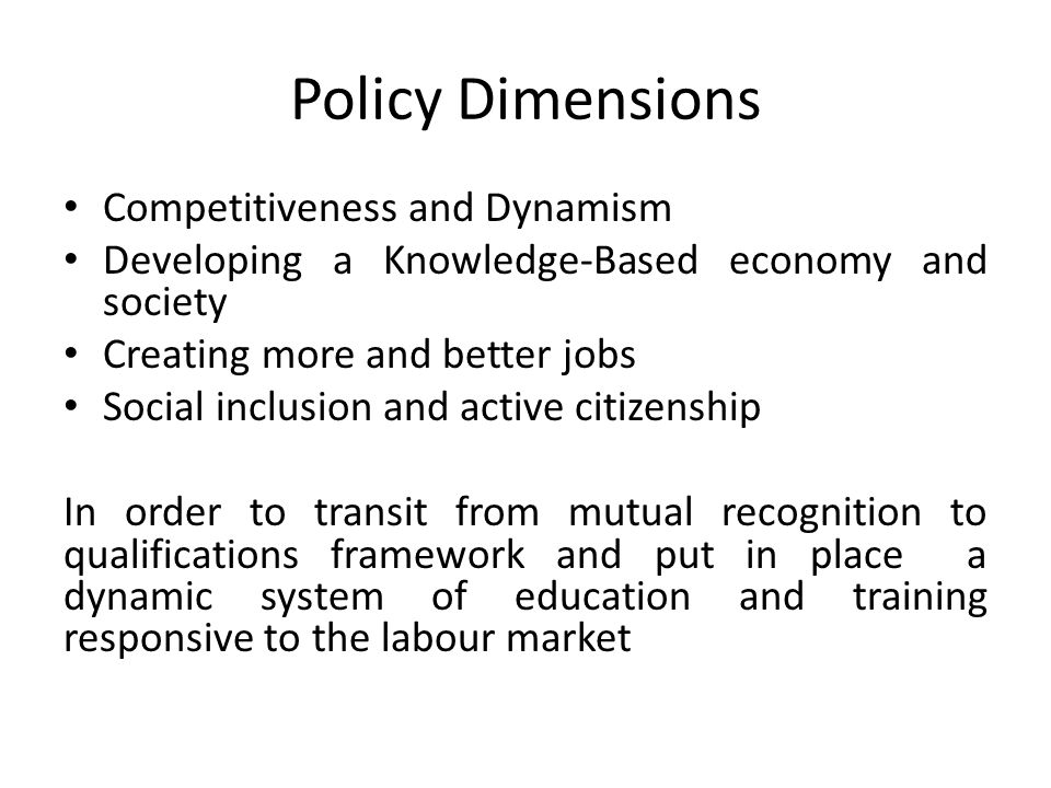 Policy Dimensions Competitiveness and Dynamism Developing a Knowledge-Based economy and society Creating more and better jobs Social inclusion and act