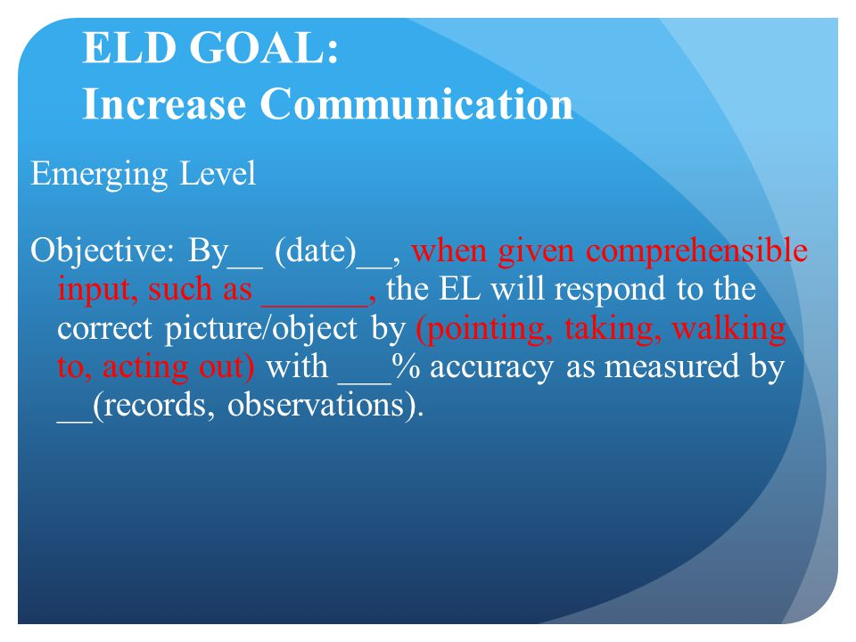ELD GOAL: Increase Communication Emerging Level Objective: By__ (date)__, when given comprehensible input, such as ______, the EL will respond to the correct picture/object by (pointing, taking, walking to, acting out) with ___% accuracy as measured by __(records, observations).