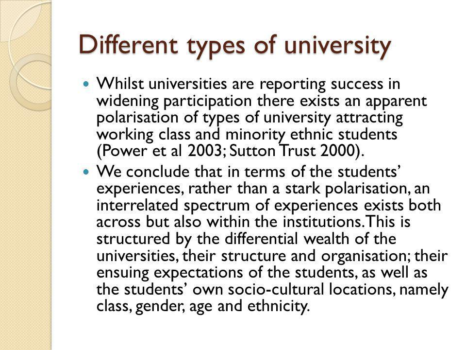 Four very different Higher Education providers were chosen for the study and as such they embody different institutional missions.