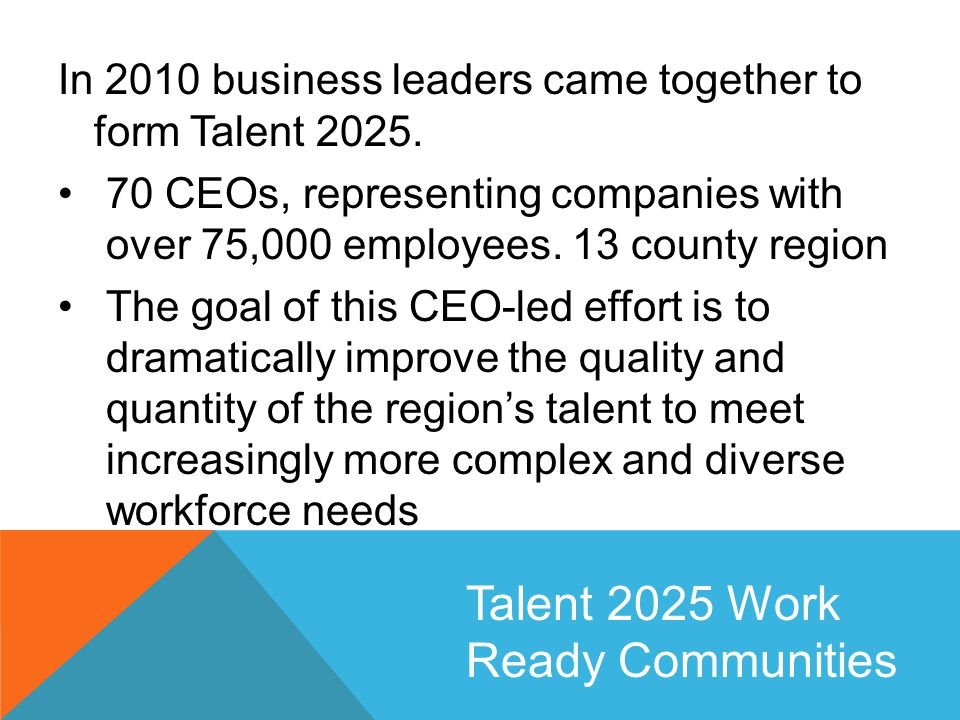 Talent 2025 Work Ready Communities In 2010 business leaders came together to form Talent 2025.