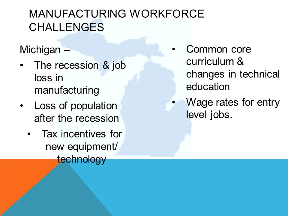 Michigan – The recession & job loss in manufacturing Loss of population after the recession Tax incentives for new equipment/ technology Common core curriculum & changes in technical education Wage rates for entry level jobs.