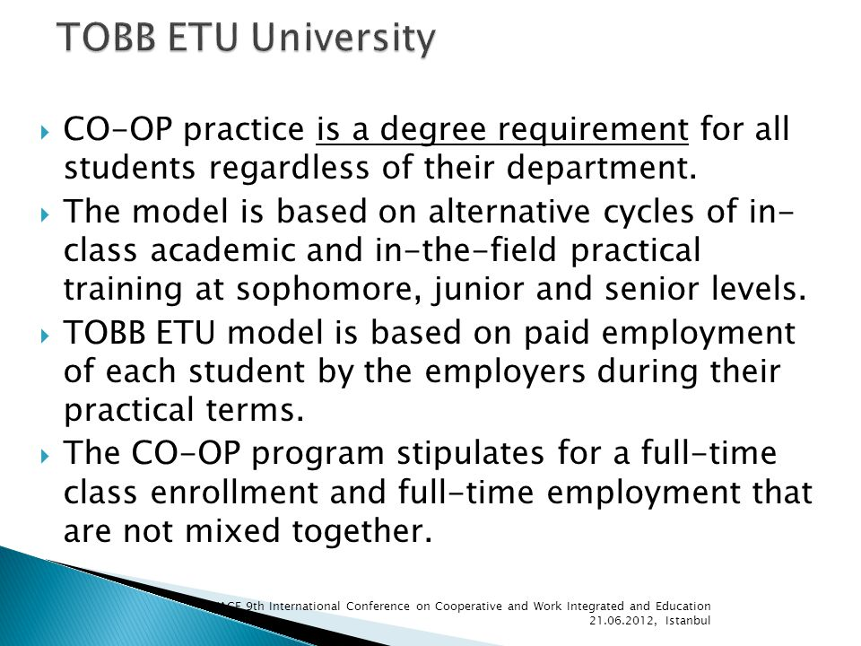 CO-OP practice is a degree requirement for all students regardless of their department.
