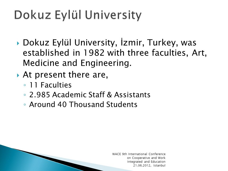 Dokuz Eylül University, İzmir, Turkey, was established in 1982 with three faculties, Art, Medicine and Engineering.
