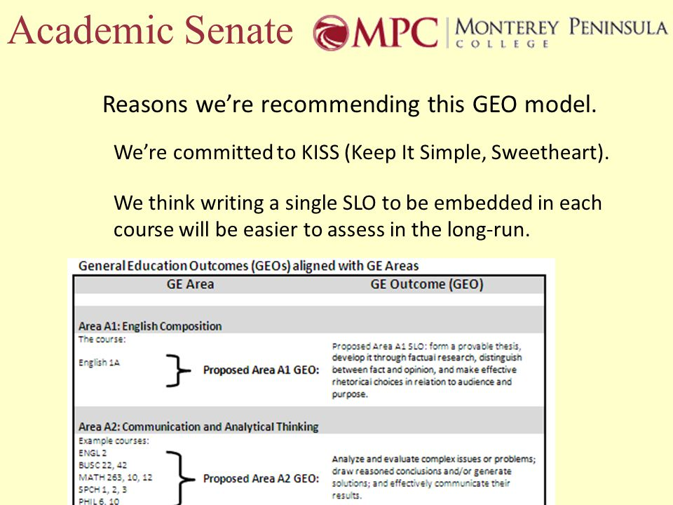 Academic Senate Reasons were recommending this GEO model.