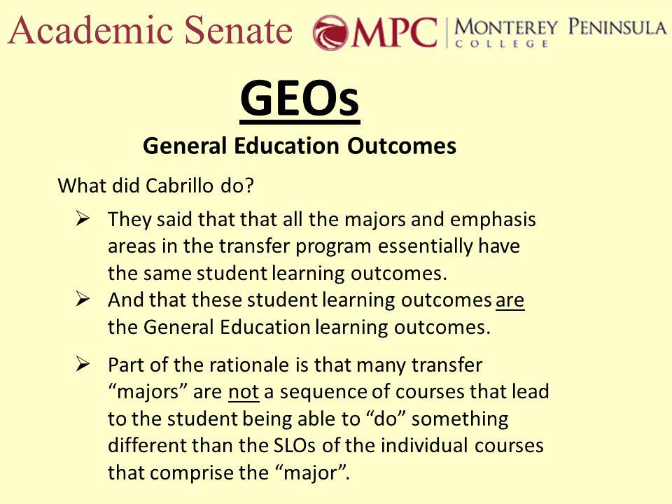 Academic Senate What did Cabrillo do.