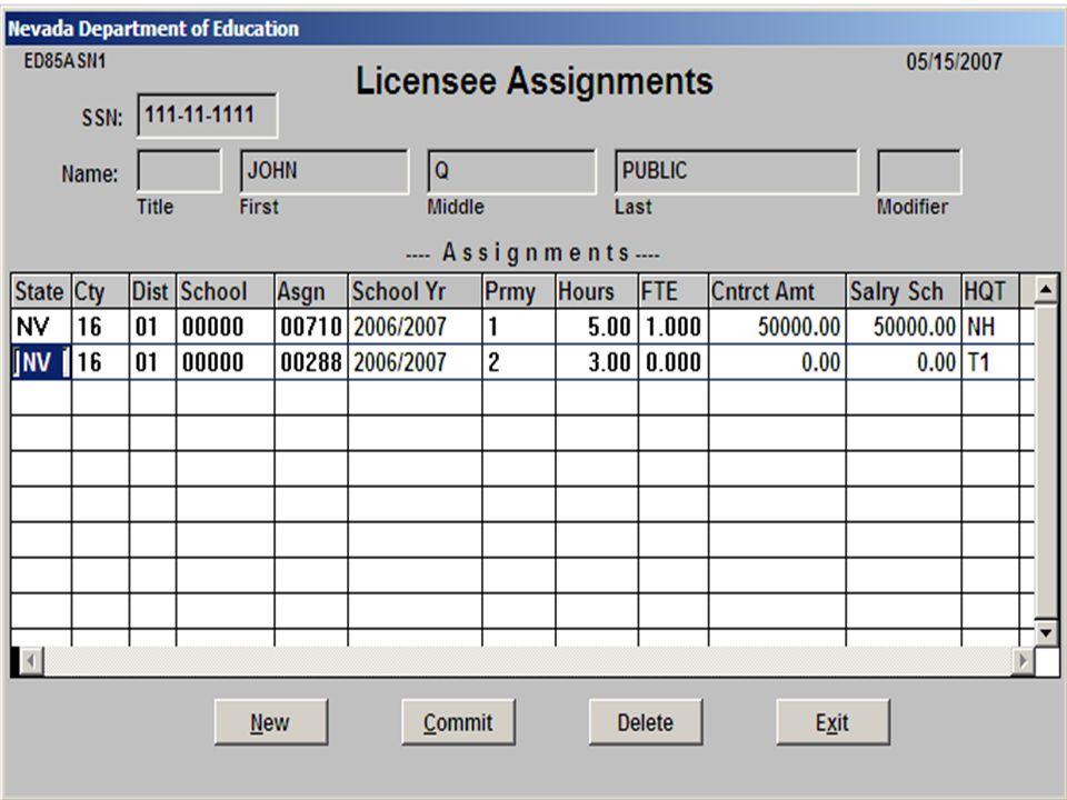 Insert screen shot of teacher info for one year