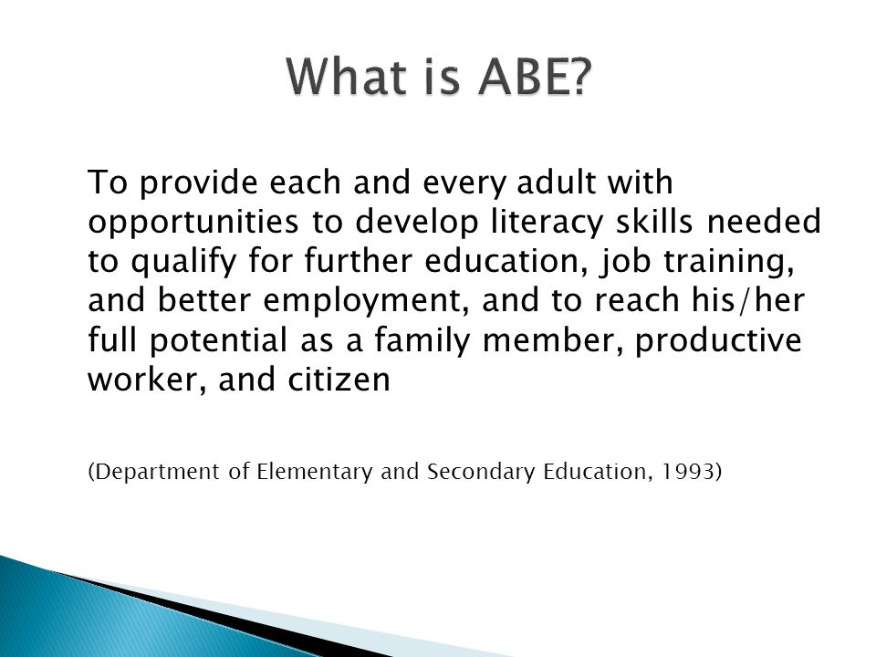 To provide each and every adult with opportunities to develop literacy skills needed to qualify for further education, job training, and better employment, and to reach his/her full potential as a family member, productive worker, and citizen (Department of Elementary and Secondary Education, 1993)