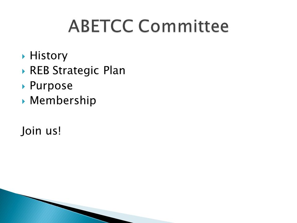 History REB Strategic Plan Purpose Membership Join us!