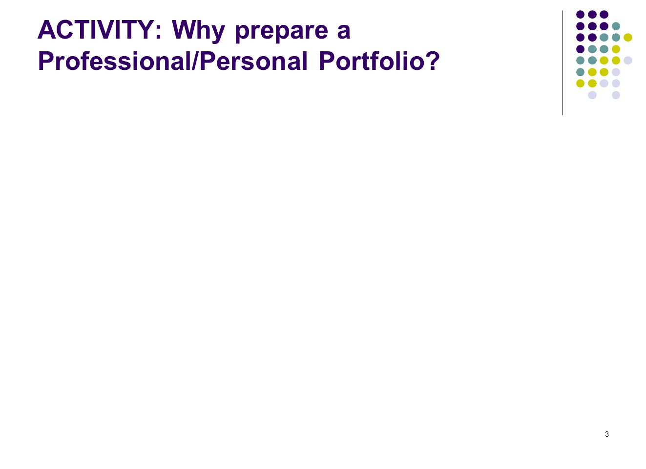 3 ACTIVITY: Why prepare a Professional/Personal Portfolio?