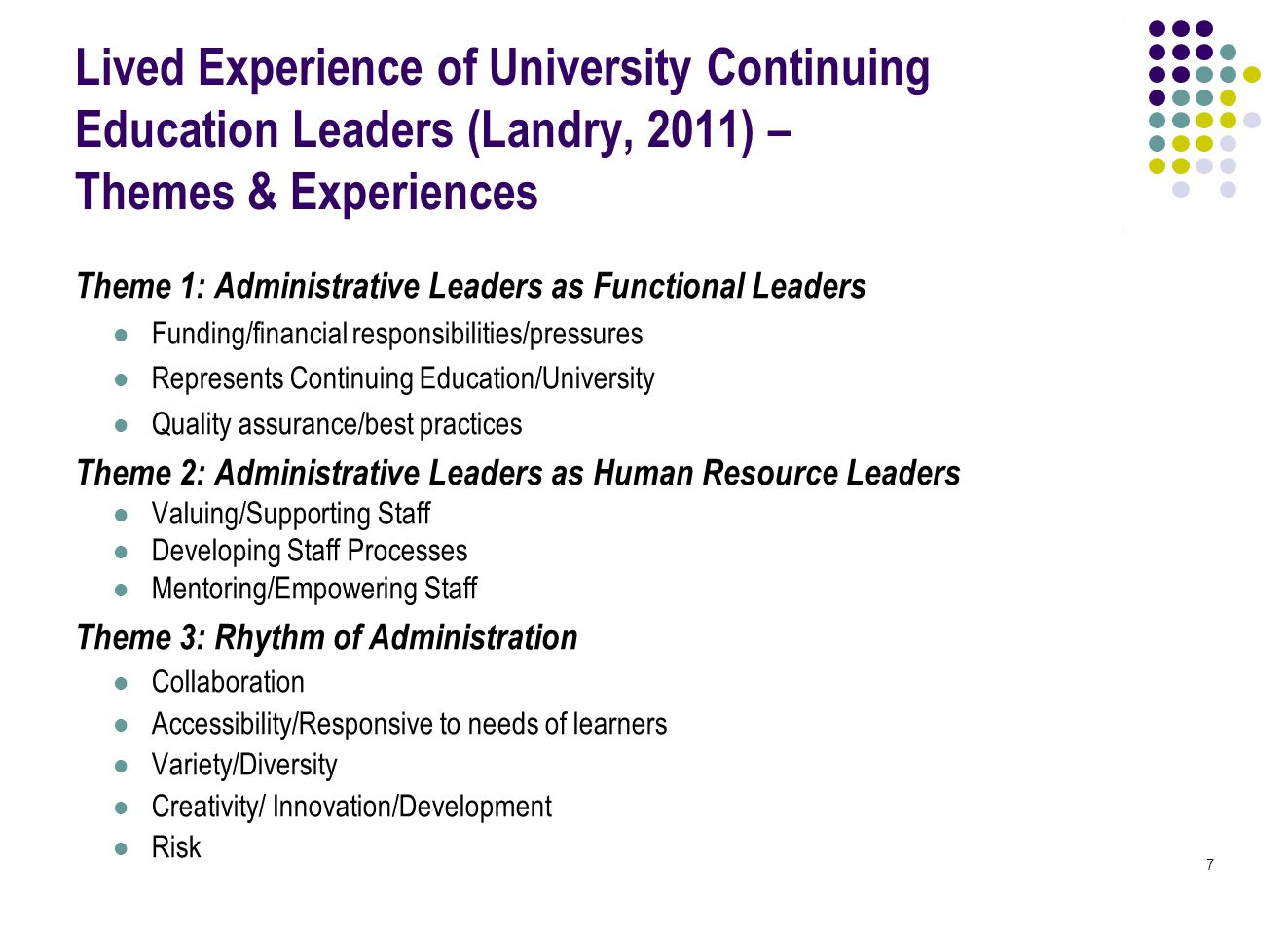 7 Lived Experience of University Continuing Education Leaders (Landry, 2011) – Themes & Experiences Theme 1: Administrative Leaders as Functional Leaders Funding/financial responsibilities/pressures Represents Continuing Education/University Quality assurance/best practices Theme 2: Administrative Leaders as Human Resource Leaders Valuing/Supporting Staff Developing Staff Processes Mentoring/Empowering Staff Theme 3: Rhythm of Administration Collaboration Accessibility/Responsive to needs of learners Variety/Diversity Creativity/ Innovation/Development Risk