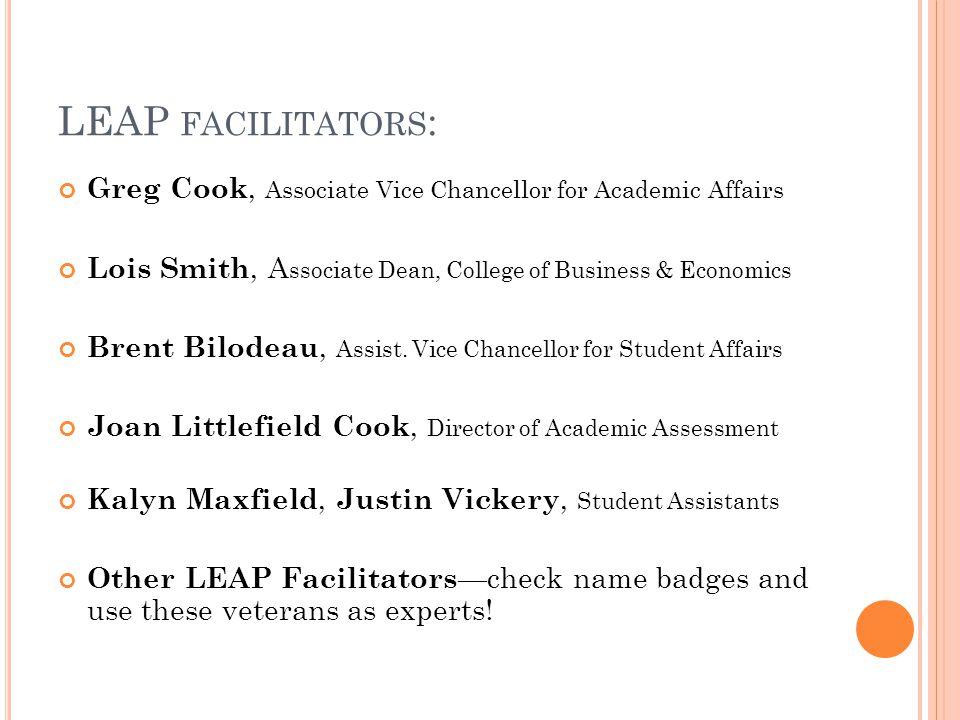 LEAP FACILITATORS : Greg Cook, Associate Vice Chancellor for Academic Affairs Lois Smith, A ssociate Dean, College of Business & Economics Brent Bilod