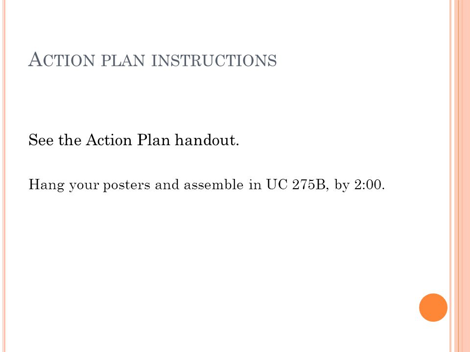 A CTION PLAN INSTRUCTIONS See the Action Plan handout.