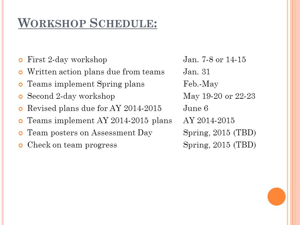 W ORKSHOP S CHEDULE : First 2-day workshopJan. 7-8 or 14-15 Written action plans due from teamsJan.