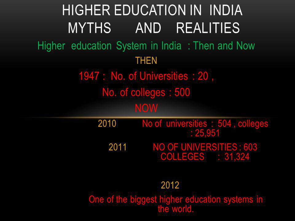 Higher education System in India : Then and Now THEN 1947 : No.