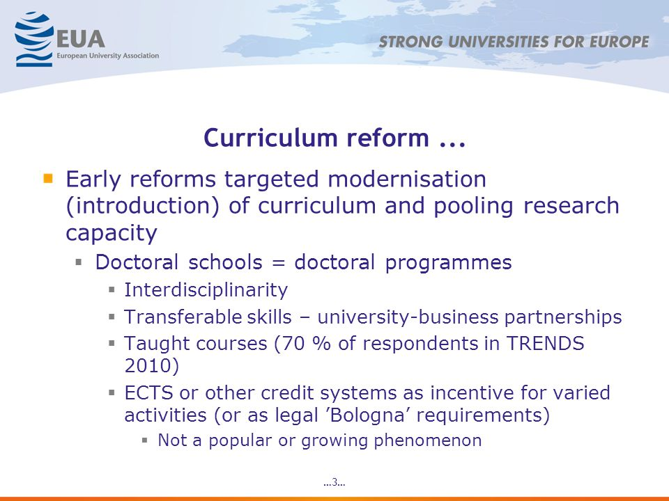 Curriculum reform...