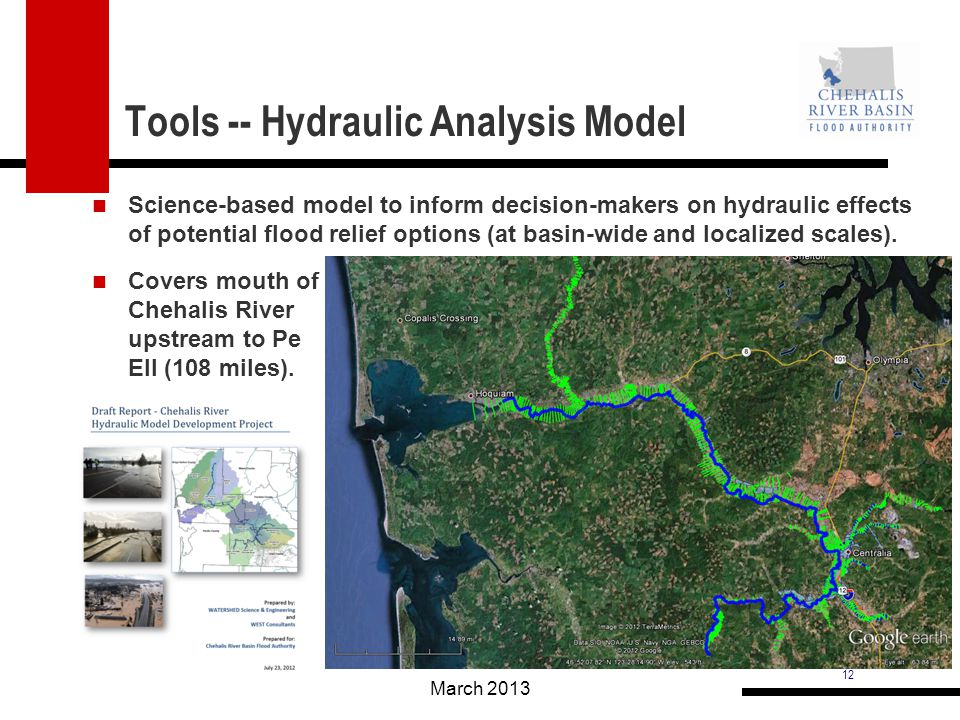 12 Tools -- Hydraulic Analysis Model Science-based model to inform decision-makers on hydraulic effects of potential flood relief options (at basin-wide and localized scales).