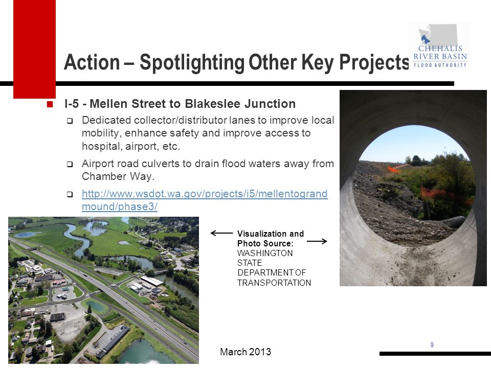 9 Action – Spotlighting Other Key Projects March 2013 I-5 - Mellen Street to Blakeslee Junction Dedicated collector/distributor lanes to improve local mobility, enhance safety and improve access to hospital, airport, etc.