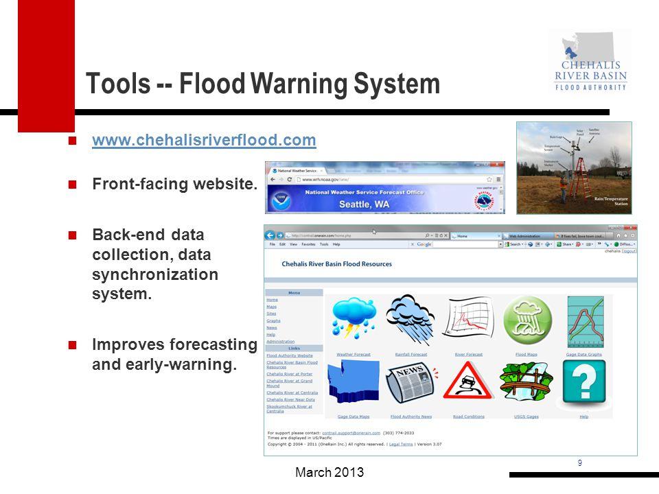 9 Tools -- Flood Warning System www.chehalisriverflood.com March 2013 Front-facing website.