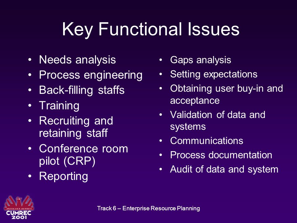Track 6 – Enterprise Resource Planning Key Functional Issues Needs analysis Process engineering Back-filling staffs Training Recruiting and retaining staff Conference room pilot (CRP) Reporting Gaps analysis Setting expectations Obtaining user buy-in and acceptance Validation of data and systems Communications Process documentation Audit of data and system