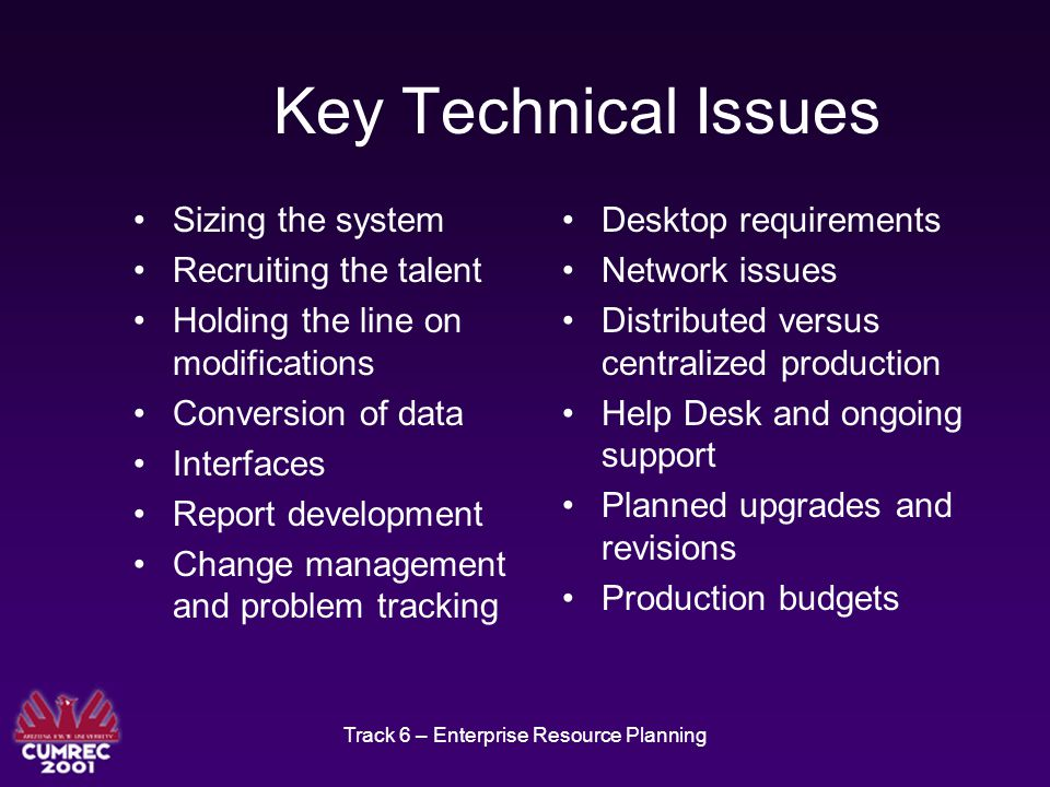 Track 6 – Enterprise Resource Planning Key Technical Issues Sizing the system Recruiting the talent Holding the line on modifications Conversion of data Interfaces Report development Change management and problem tracking Desktop requirements Network issues Distributed versus centralized production Help Desk and ongoing support Planned upgrades and revisions Production budgets