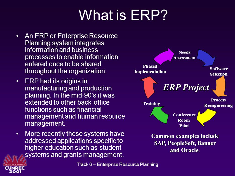 Track 6 – Enterprise Resource Planning What are the Benefits of ERP.