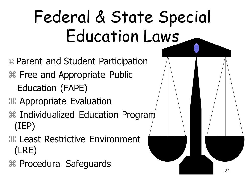 21 Federal & State Special Education Laws z Parent and Student Participation z Free and Appropriate Public Education (FAPE) z Appropriate Evaluation z