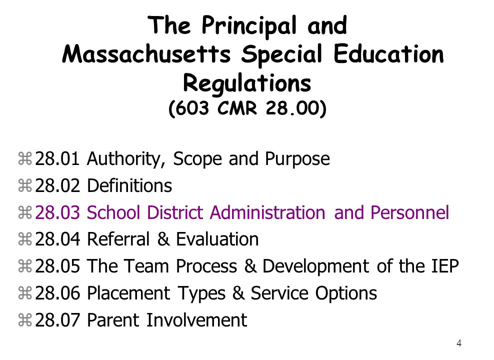4 The Principal and Massachusetts Special Education Regulations (603 CMR 28.00) z28.01 Authority, Scope and Purpose z28.02 Definitions z28.03 School D