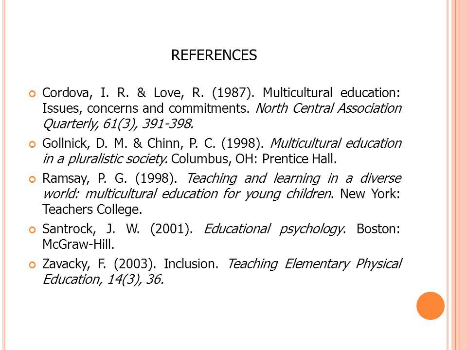 REFERENCES Cordova, I. R. & Love, R. (1987).