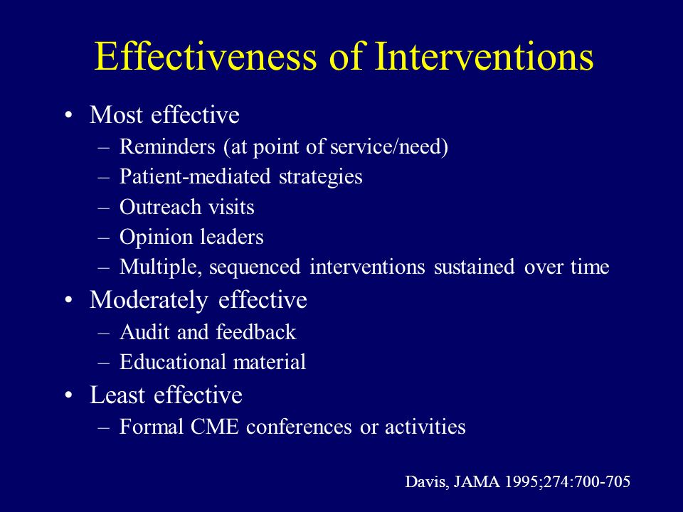 Effectiveness of Interventions Most effective –Reminders (at point of service/need) –Patient-mediated strategies –Outreach visits –Opinion leaders –Multiple, sequenced interventions sustained over time Moderately effective –Audit and feedback –Educational material Least effective –Formal CME conferences or activities Davis, JAMA 1995;274:700-705