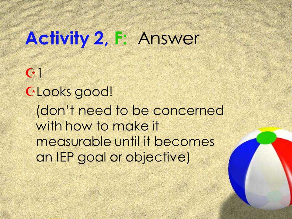 Activity 2, F: Answer Z1Z1 ZLooks good.