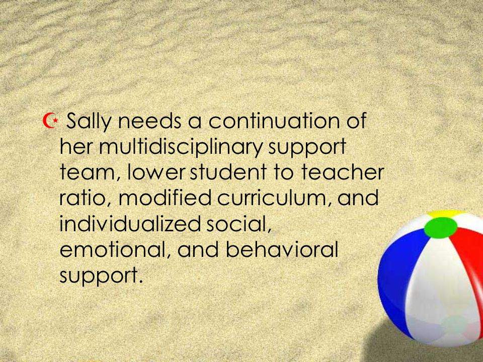 Z Sally needs a continuation of her multidisciplinary support team, lower student to teacher ratio, modified curriculum, and individualized social, emotional, and behavioral support.