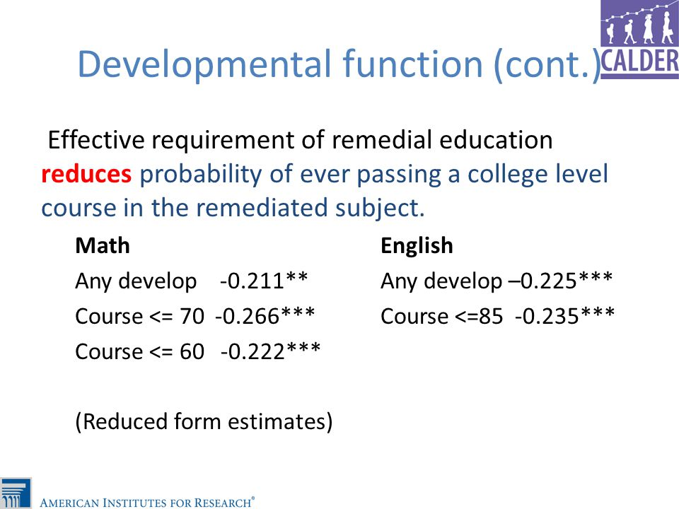 Developmental function (cont.) Effective requirement of remedial education reduces probability of ever passing a college level course in the remediated subject.